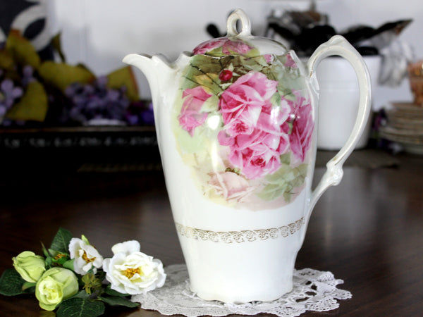Antique Chocolate Pot, Tall Coffee Pot, Shabby Pink Roses 14823