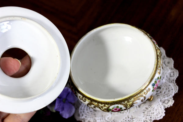 Nippon Moriage, Hand Painted China, Hair Receiver, Made in Japan 14827 - The Vintage Teacup