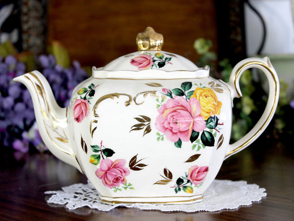 Sadler Cube Teapot, Pink & Yellow, Cabbage Roses Motif, 1930s Sadler Tea Pot 14856 - The Vintage Teacup