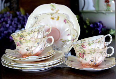 Antique Samuel Radford, Dessert Set Pieces, Teacups, Saucers, Side Plates 14857