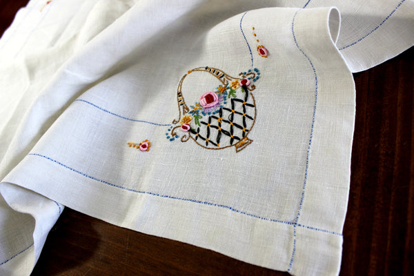 Small Vintage Tablecloth, Embroidered Linen Table Cloth, French Knots, Tan Linen 14970 - The Vintage Teacup