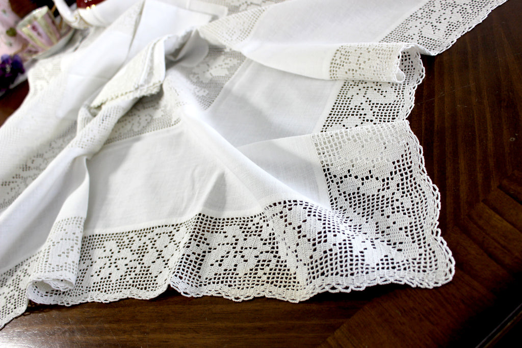 Antique Tablecloth, Linen Table Cloth Handmade Filet Crocheted Accent and Edges 15031 - The Vintage Teacup
