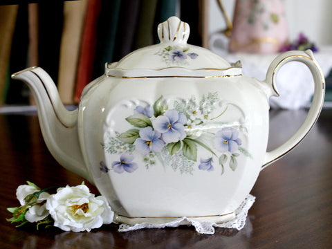 Windsor Sadler Tea Pot, Cube Teapot - Floral England 15223