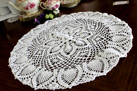Large Crochet Doily, Large Crocheted Centerpiece, Medium Chunky Thread in White 15265