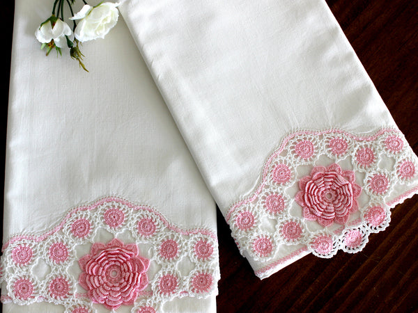Vintage Pillowcases, 2 Pillow Cases, White Cotton Pillow Slips, Pink 3D Crocheted Edges 15269 - The Vintage Teacup