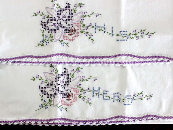 Vintage Pillowcases, 2 Pillow Cases, White Cotton Pillow Slips, His & Hers 15273