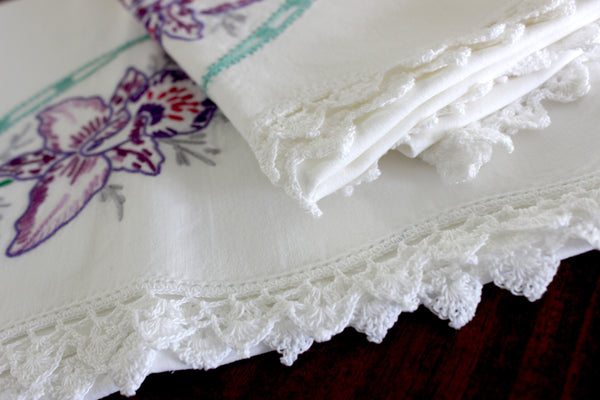 Vintage Pillowcases, Pillow Cases, White Cotton Pillow Slips, Embroidered & Crocheted 15275