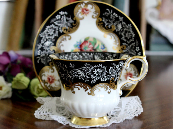 Black Paragon Trenton, Teacup and Saucer, English Bone China Tea Cup 16121