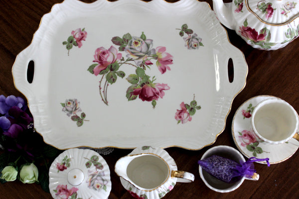 Demitasse Teacups & Saucers, Pink Roses Transferware, Teapot, Sugar, Creamer, Tray & Cups 15286 - The Vintage Teacup