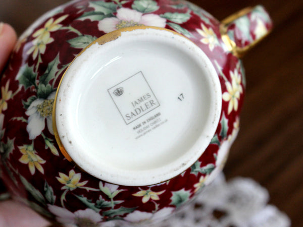 Sadler Holiday Chintz Creamer & Sugar, No Lid, Porcelain Christmas Pattern 15290