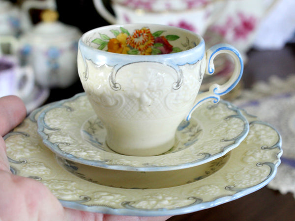 Antique Crown Ducal, Trio Demitasse Teacup Saucer and Plate, Embossed China 15292 - The Vintage Teacup