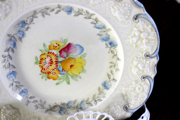 Antique Crown Ducal, Trio Demitasse Teacup Saucer and Plate, Embossed China 15292