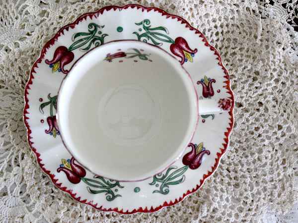 American Limoges Old Dutch Pattern Tulips in Basket cup & Saucer 15303 - The Vintage Teacup