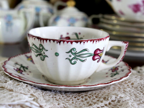 American Limoges Old Dutch Pattern Tulips in Basket cup & Saucer 15303