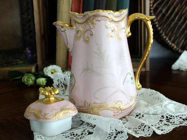 Antique Chocolate Pot, Pink Coffee Pot, Shabby Hand Painted 15316 - The Vintage Teacup