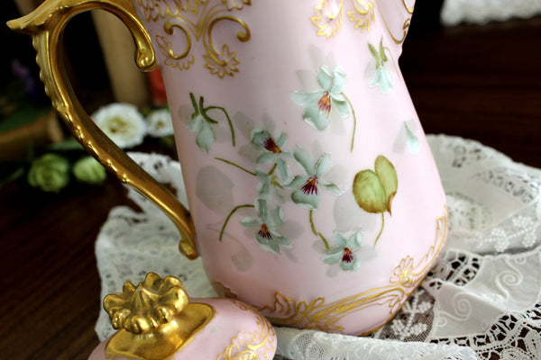 Antique Chocolate Pot, Pink Coffee Pot, Shabby Hand Painted 15316