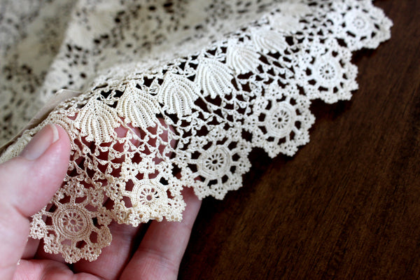 Antique Crochet Doily, Intricate Handmade Doily, Hand Made Lacy Round 15321