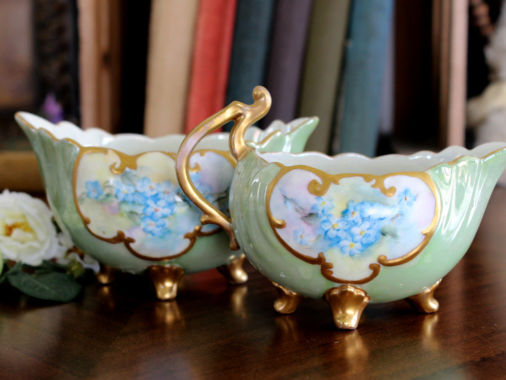 Antique Sugar and Creamer, Pearlized, Four Footed Creamer Sugar Set 15330 - The Vintage Teacup