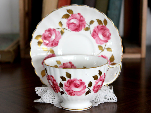 Radfords Cup and Saucer - White with Pink Cabbage Roses 15341