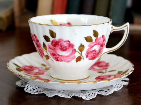 Radfords Cup and Saucer - White with Pink Cabbage Roses 15341 - The Vintage Teacup
