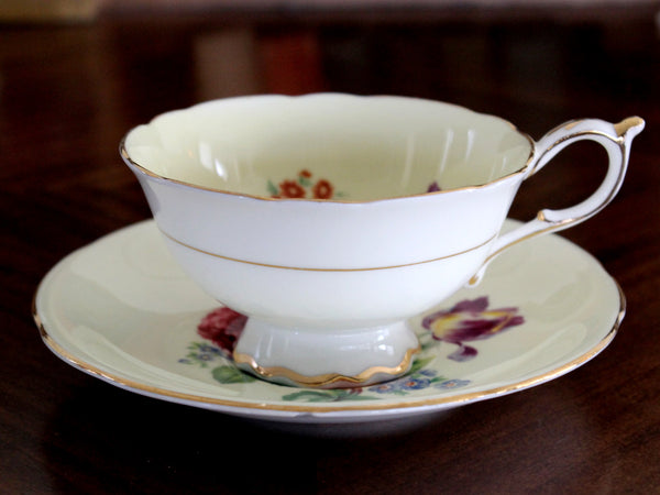 Paragon Pale Yellow Teacup with Saucer - English Bone China Tea Cup 15399