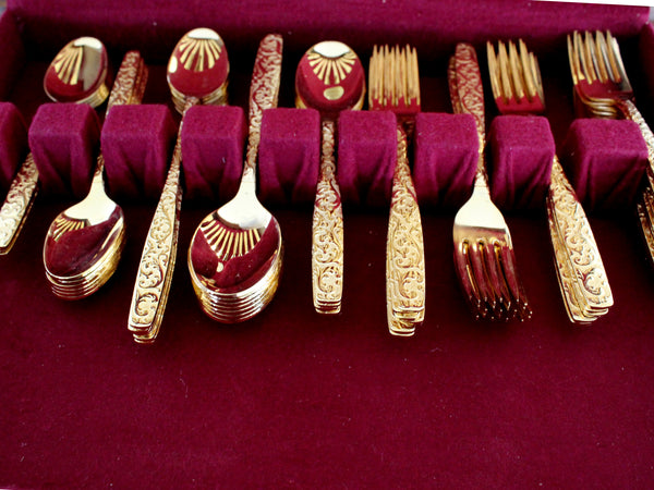 Goldtone Flatware, 77 Piece, Gold Tone Flat Ware Lot, Utensils, Vintage Cutlery 15405 - The Vintage Teacup