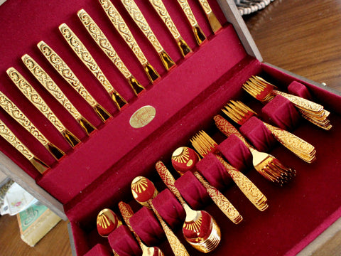 Goldtone Flatware, 77 Piece, Gold Tone Flat Ware Lot, Utensils, Vintage Cutlery 15405