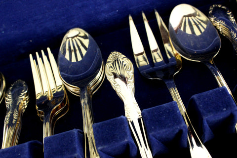 Goldtone Flatware, 60 Piece, Gold Tone Flat Ware Lot, Utensils, Vintage Cutlery 15411
