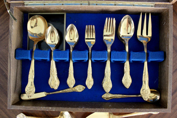 Northgate Goldtone Flatware, 53 Piece, Gold Tone Flat Ware Lot, Utensils, Vintage Cutlery 15412 - The Vintage Teacup