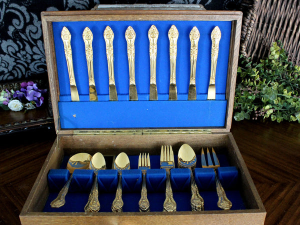 Northgate Goldtone Flatware, 53 Piece, Gold Tone Flat Ware Lot, Utensils, Vintage Cutlery 15412