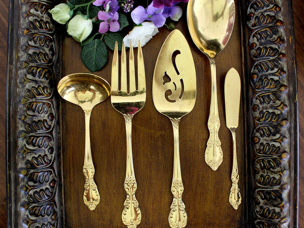 WM Rogers, Goldtone Flatware, Gold Tone Flat Ware, 5 Serving Pieces 15416