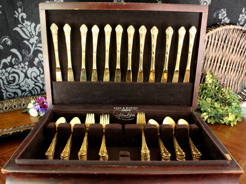 Lady Astor, Ekco Eterna, Goldtone Flatware, 74 Piece, Gold Tone Flat Ware. Utensils, 15420