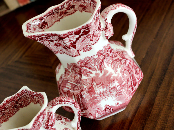 Masons Vista, Red Ware, Two Pitchers, Pink Transferware Jugs 15423