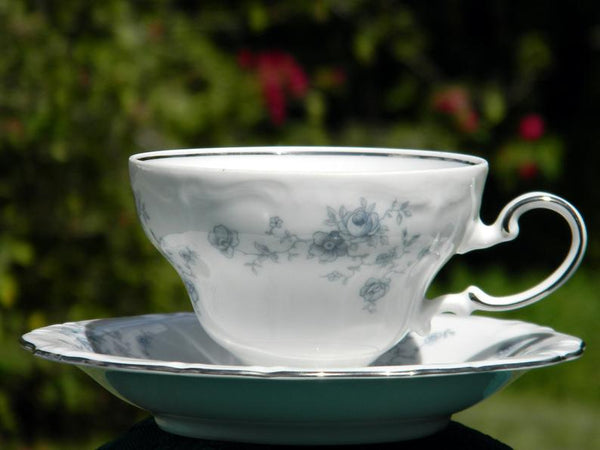 Johann Haviland Blue Garland Teacup and Saucer, Tea Cup Made in Bavaria Germany 15427