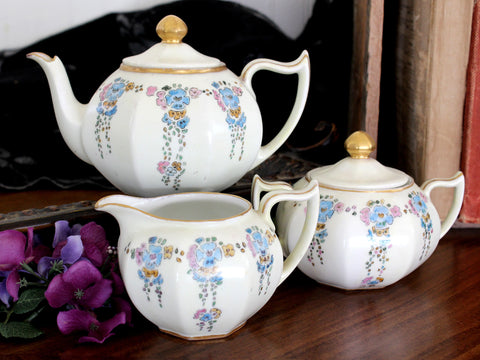 Z.S.&C. Bavaria China Teapot, Creamer & Sugar, Made in Bavaria, Signed 15439