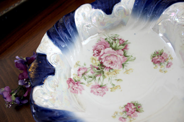 "T L bavaria 10"" Serving Bowl, Pearlized, Hand Finished Roses 15456"