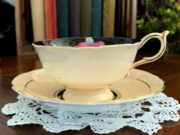 Paragon Teacup with Saucer - Wide-Mouthed English Bone China Tea Cup 15459 - The Vintage Teacup