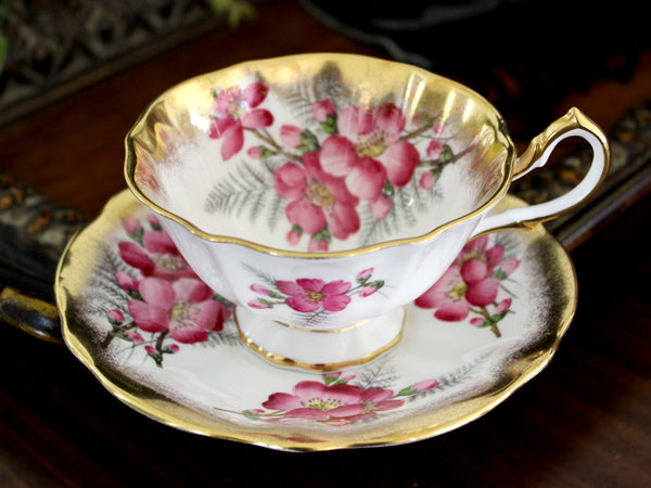 Queen Anne Cabinet Teacup and Saucer, English Bone China 15462 - The Vintage Teacup