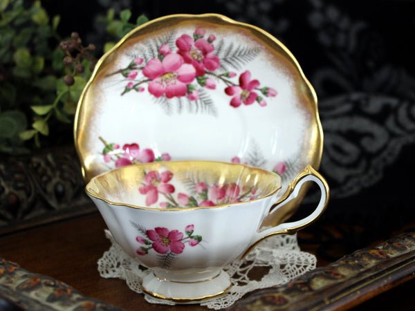 Queen Anne Cabinet Teacup and Saucer, English Bone China 15462