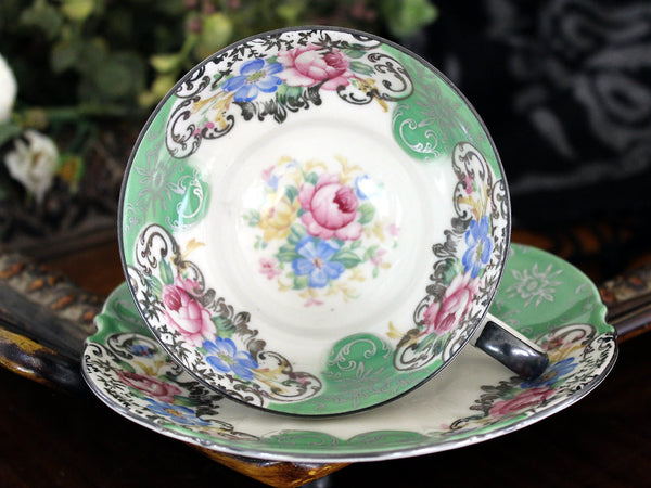 Mitterteich, Teacup and Saucer, Fluffy Roses, Black Trim, Bavaria Germany 15464