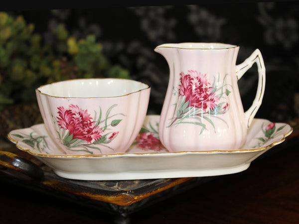 Old Royal,  Pink Creamer, Sugar & Tray, English Bone China 15470
