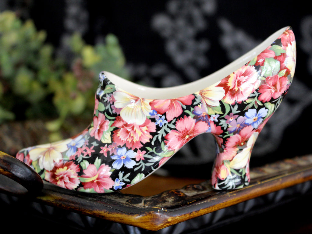 Grimwades Chintz Boot, Royal Winton Bone China Shoe in Black Florence Chintz 15471 - The Vintage Teacup