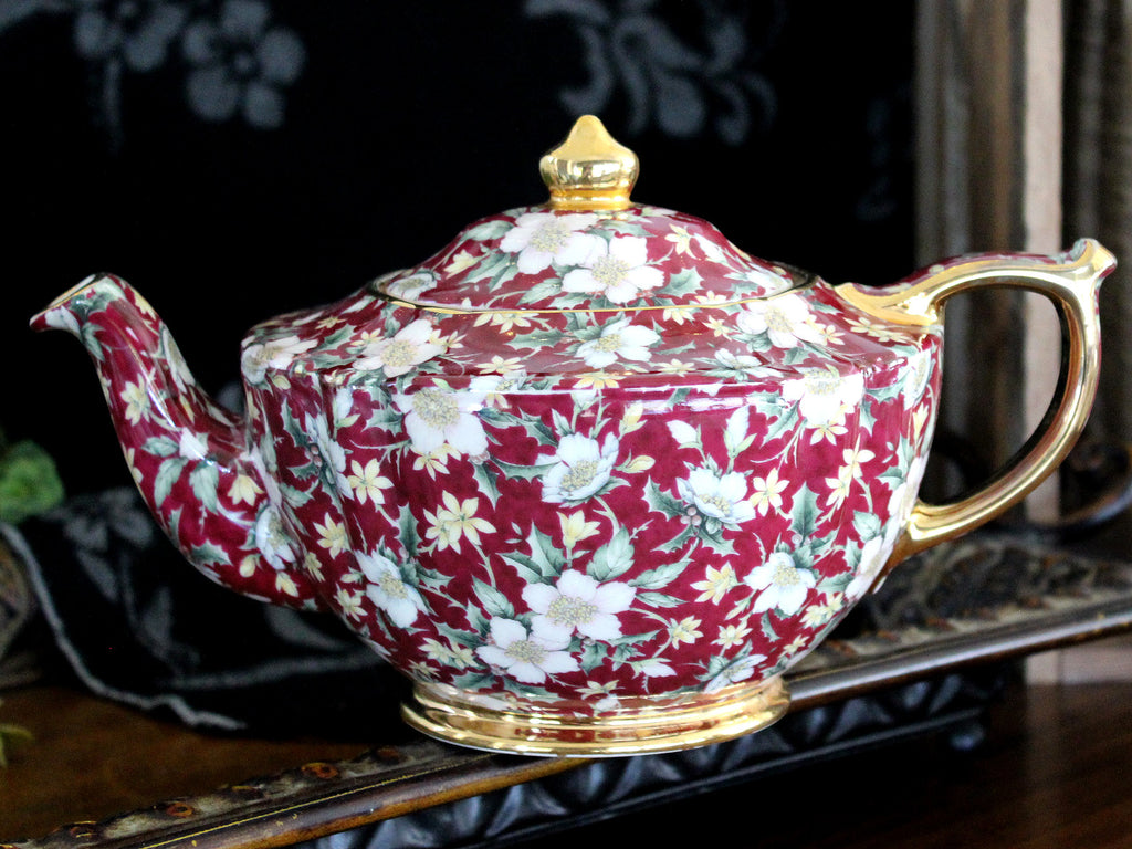 Sadler Holiday Chintz Teapot, Porcelain Christmas Teapot 4 Cup 15478