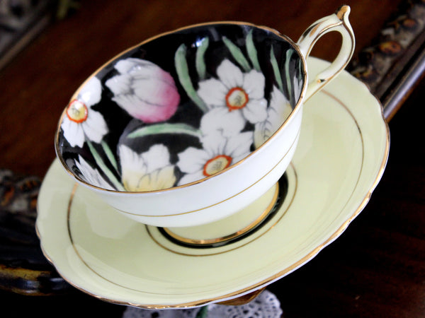 Paragon Pale Yellow Teacup with Saucer - English Bone China Tea Cup 15486 - The Vintage Teacup