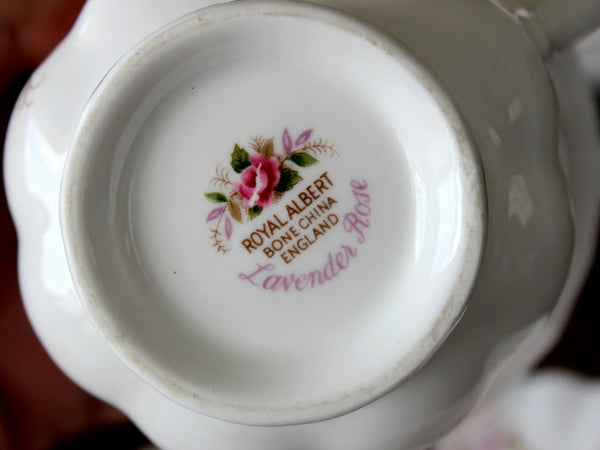 7 Royal Albert Cups and Saucers, Lavender Rose, Montrose Shape 15499 - The Vintage Teacup