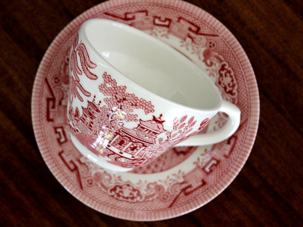 MISMATCHED Red transferware Teacup, Vintage Tea Cup and Saucer, Churchill 15530