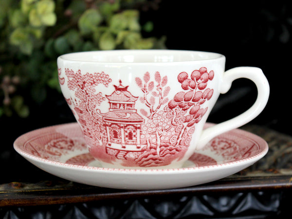 MISMATCHED Red transferware Teacup, Vintage Tea Cup and Saucer, Churchill 15530 - The Vintage Teacup