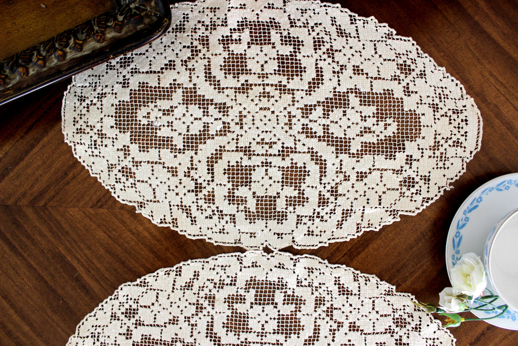 2 Filet Lace Doilies, Filet Worked Lace, Needle Lace, Tray Cloth, Ecru Oval Doilies 15539 - The Vintage Teacup