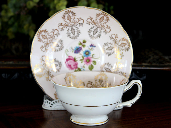Pink Royal Grafton Teacup, Wide Mouthed, Floral Interior, Vintage Cup and Saucer 15562 - The Vintage Teacup