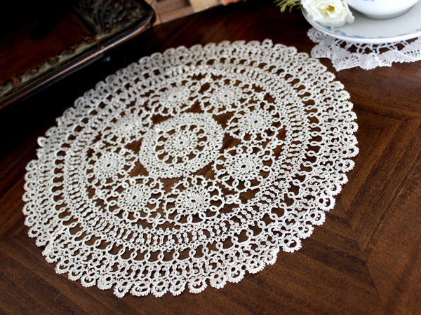 Tatted Off White Doily, Vintage Doilies, Hand Made Lacy Round, Handmade Tatting 15564